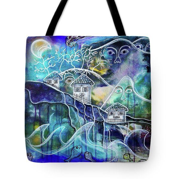 Three Houses On A Cliff Tote Bag