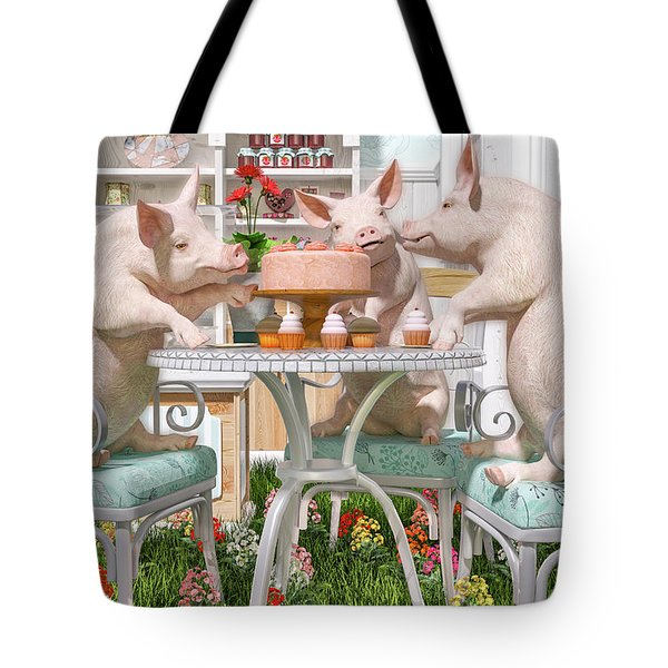 Three Little Pigs And The Birthday Cake Tote Bag