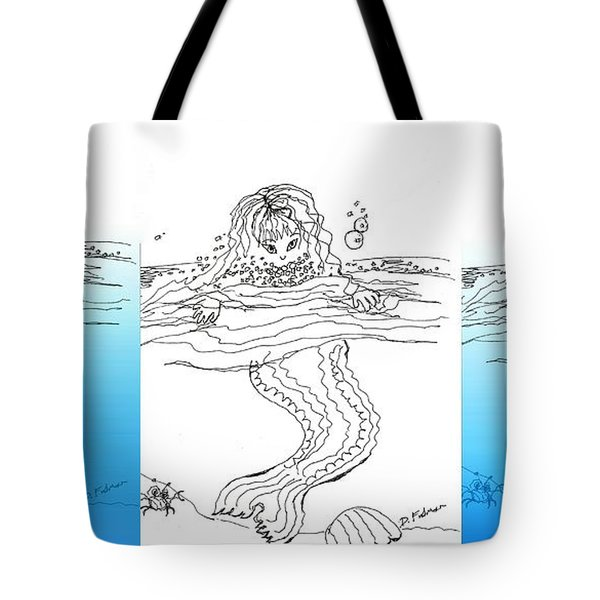 Three Mermaids All In A Row Tote Bag