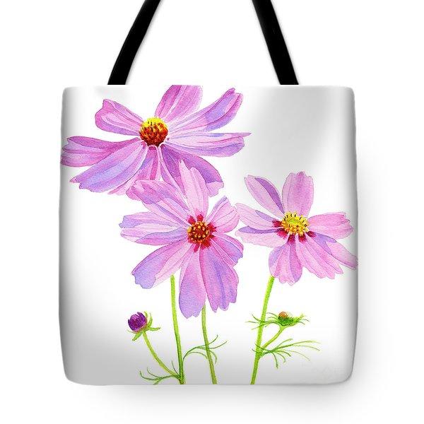 Three Pink Cosmos Blossoms Square Design Tote Bag