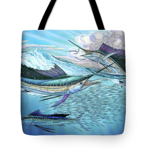 Three Sailfish And Bait Ball Tote Bag