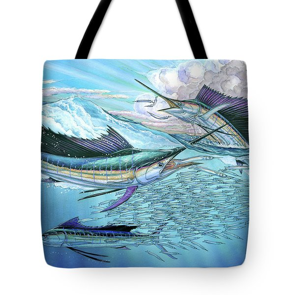 Three Sailfish And Bait Ball Tote Bag