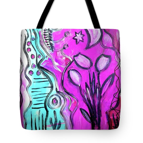 Three Tulips Under The Moon Tote Bag