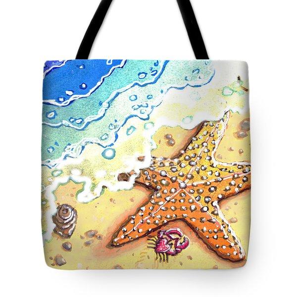 Tidal Beach Starfish Tote Bag