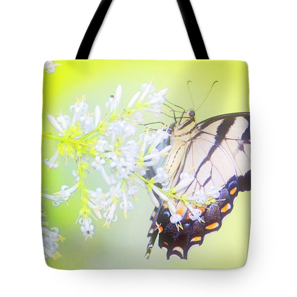 Tiger Swallowtail Butterfly On Privet Flowers Tote Bag