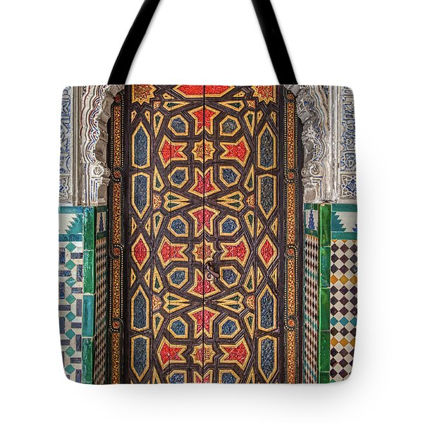 Tote Bag featuring the photograph Tiled Door Of Sevilla by David Letts