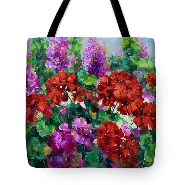 Tipping Point Geraniums Tote Bag