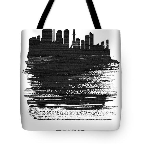 Tokyo Skyline Brush Stroke Black Tote Bag
