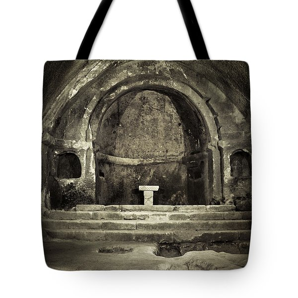Tomb And Altar In The Monastery Of San Pedro De Rocas Tote Bag