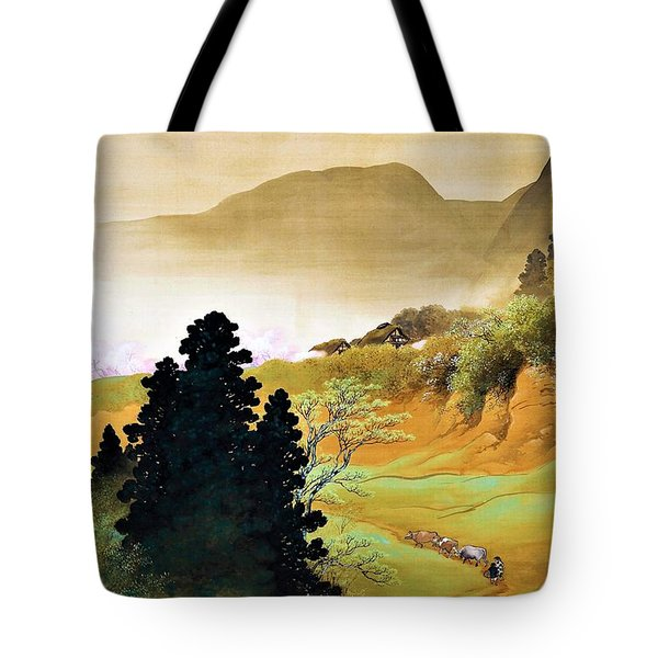 Top Quality Art - Mountain Village Spring Color Tote Bag