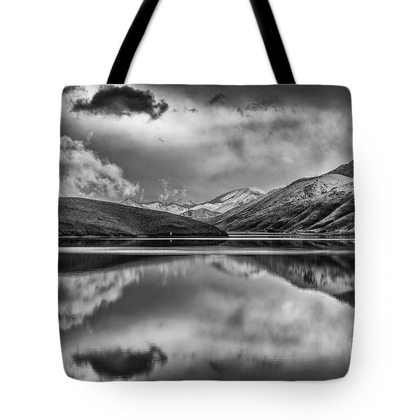 Topaz Lake Winter Reflection, Black And White Tote Bag