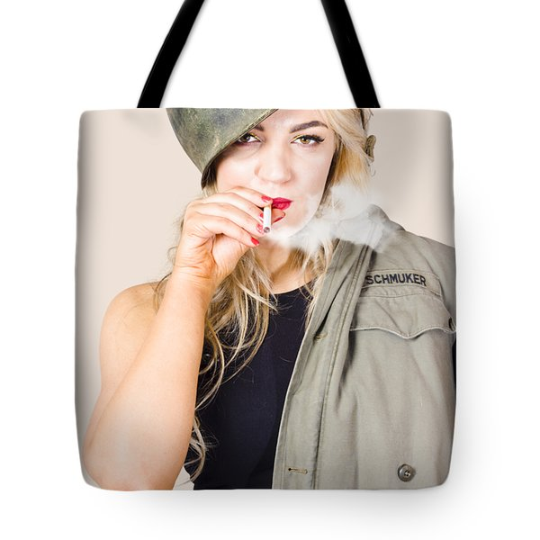 Tough And Determined Female Pin-up Soldier Smoking Tote Bag