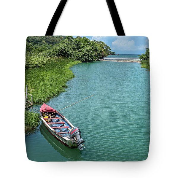 Tour Boat In Jamaica Tote Bag