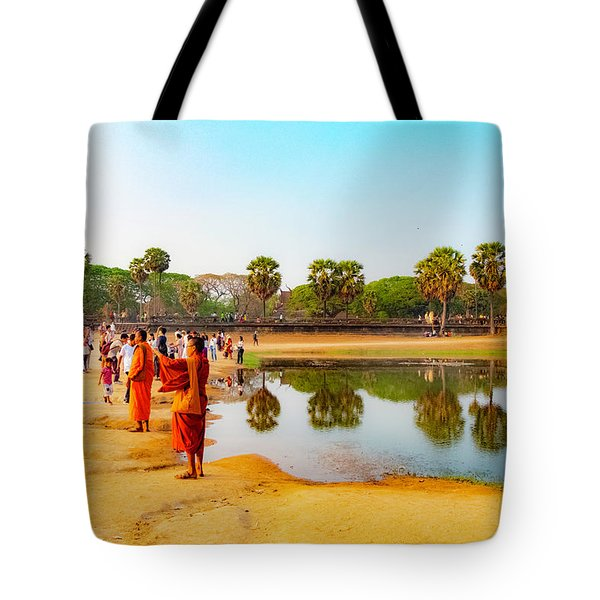 Tourists At Angkor Wat - Siem Reap, Cambodia Tote Bag