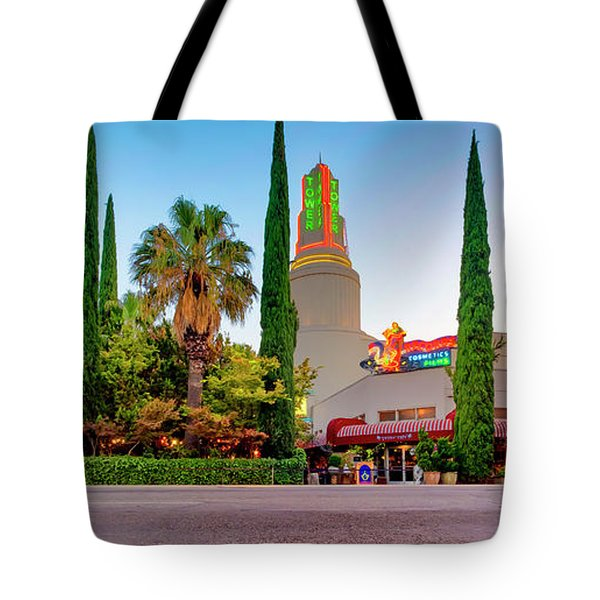 Tote Bag featuring the photograph Tower Cafe Dusk- by JD Mims
