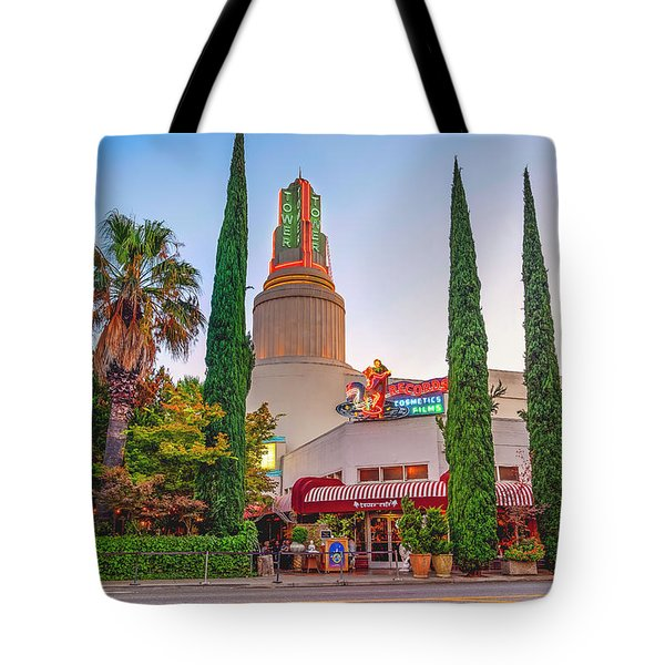 Tote Bag featuring the photograph Tower Cafe Sunset- by JD Mims