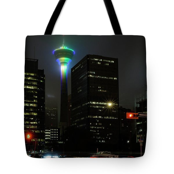 Tote Bag featuring the photograph Tower Glow by Brad Allen Fine Art