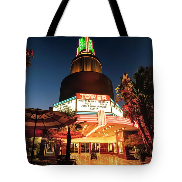Tote Bag featuring the photograph Tower Theater- by JD Mims