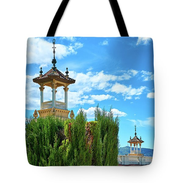 Tote Bag featuring the photograph Towers And Blue Sky From Montjuic In Barcelona by Eduardo Jose Accorinti