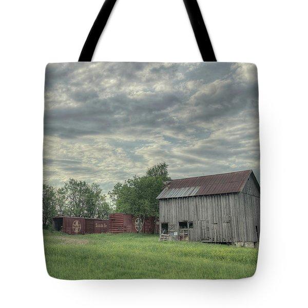 Train Cars And A Barn Tote Bag
