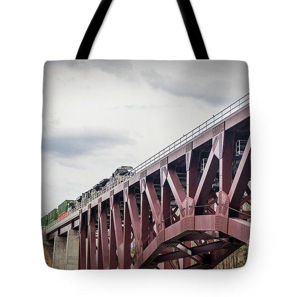 Train Over Letchworth Tote Bag