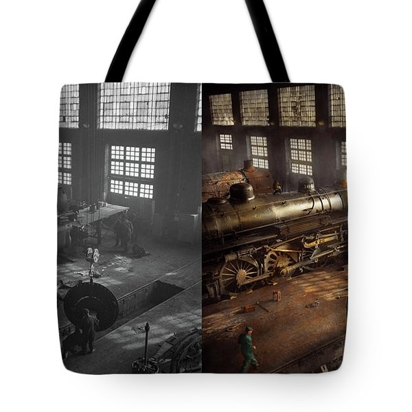 Tote Bag featuring the photograph Train - Repair - Third Door On The Right 1942 - Side By Side by Mike Savad