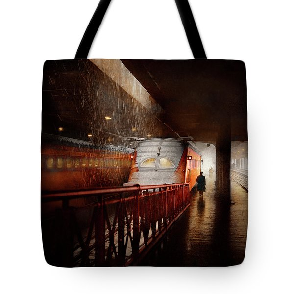 Tote Bag featuring the photograph Train - Retro - Last Train Of The Day 1943 by Mike Savad
