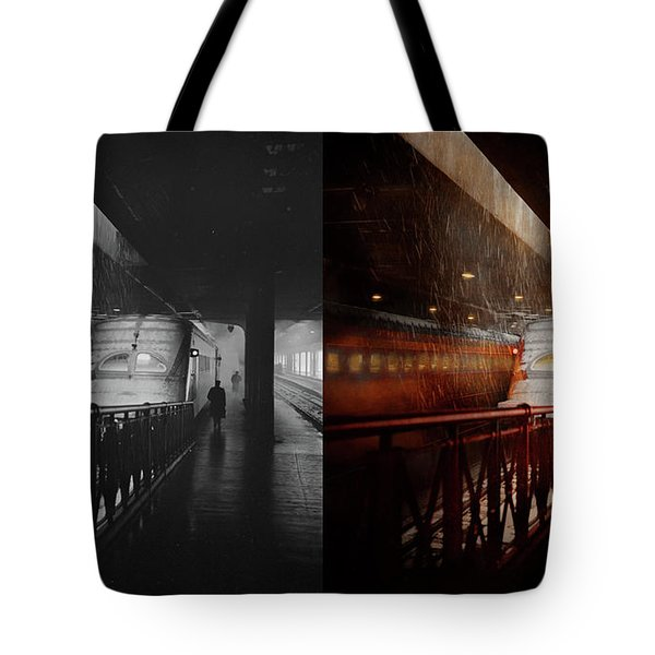Tote Bag featuring the photograph Train - Retro - Last Train Of The Day 1943 - Side By Side by Mike Savad