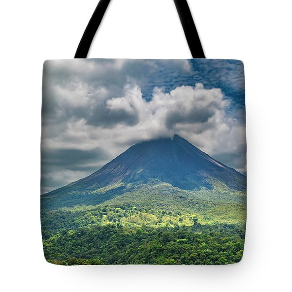 Tranquil Storm Arenal Volcano Tote Bag