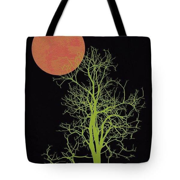 Tree And Orange Moon Tote Bag