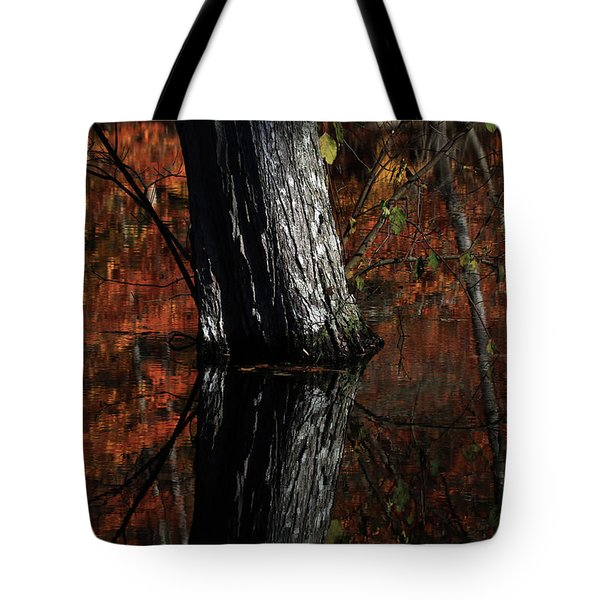 Tree Reflects In The Pond Tote Bag