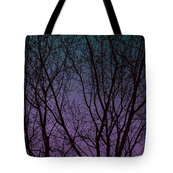 Tree Silhouette Against Blue And Purple Tote Bag