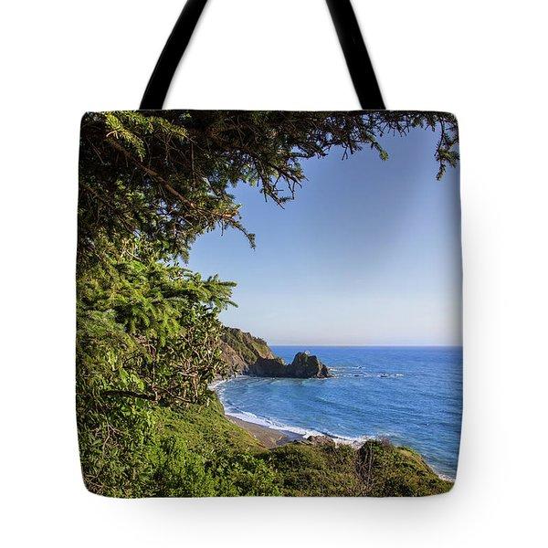 Trees And Ocean Tote Bag