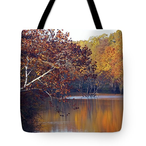 Tote Bag featuring the photograph Trees At The Water's Edge by Mike Murdock