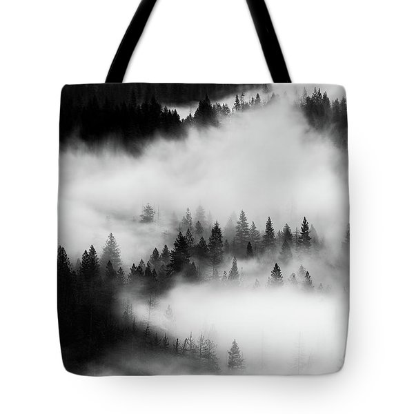Tote Bag featuring the photograph Trees In The Mist 1 by Stephen Holst