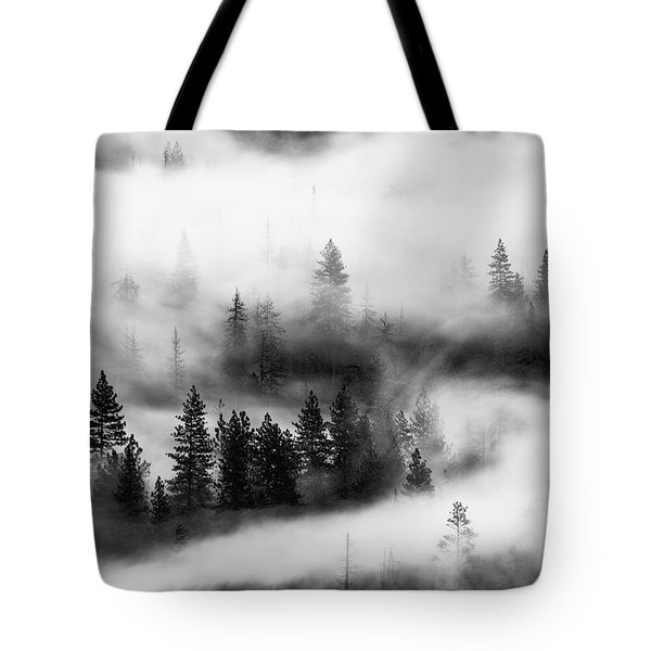Tote Bag featuring the photograph Trees In The Mist 2 by Stephen Holst