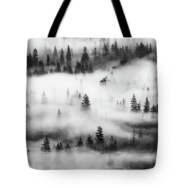 Tote Bag featuring the photograph Trees In The Mist 3 by Stephen Holst