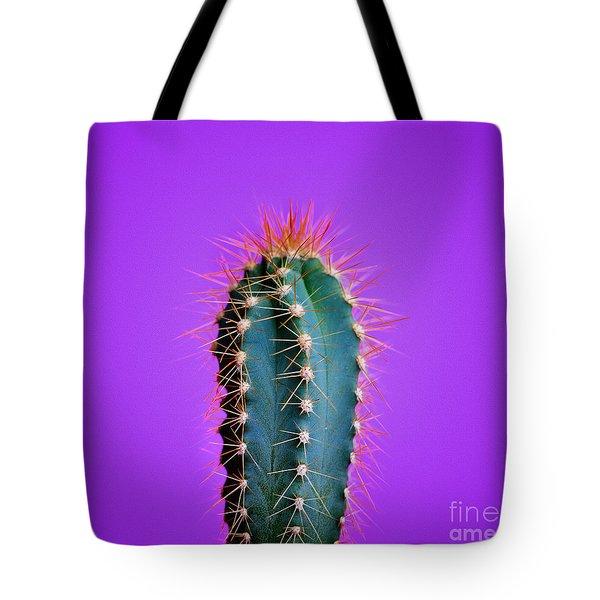Trendy Neon Cactus Closeup Over Bright Purple Pastel Background. Tote Bag