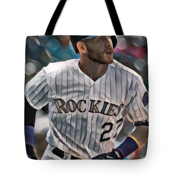 Trevor Story Colorado Rockies Abstract Art 1 Tote Bag