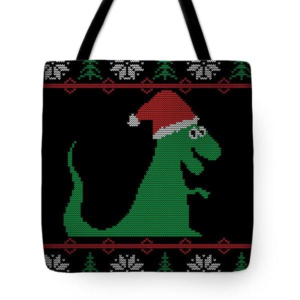 Trex Santa Ugly Christmas Sweater Tote Bag