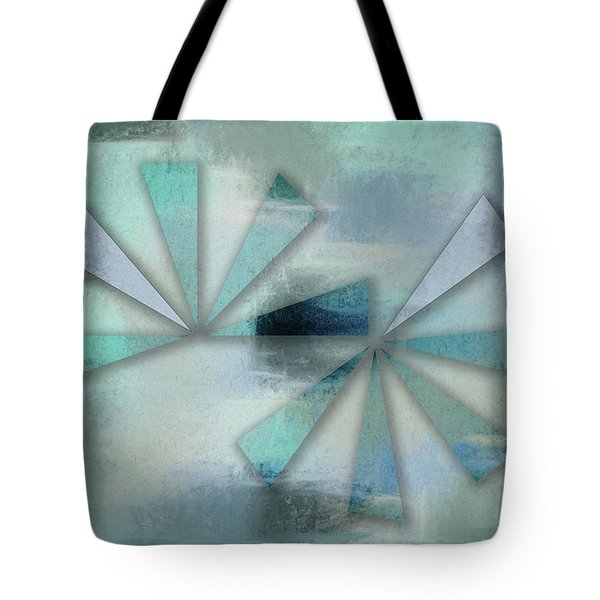 Triangles On Blue Grey Backdrop Tote Bag