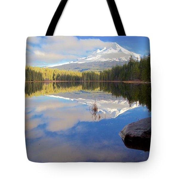 Trillium Lake Morning Reflections Tote Bag