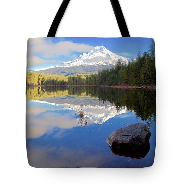 Trillium Lake November Morning Tote Bag