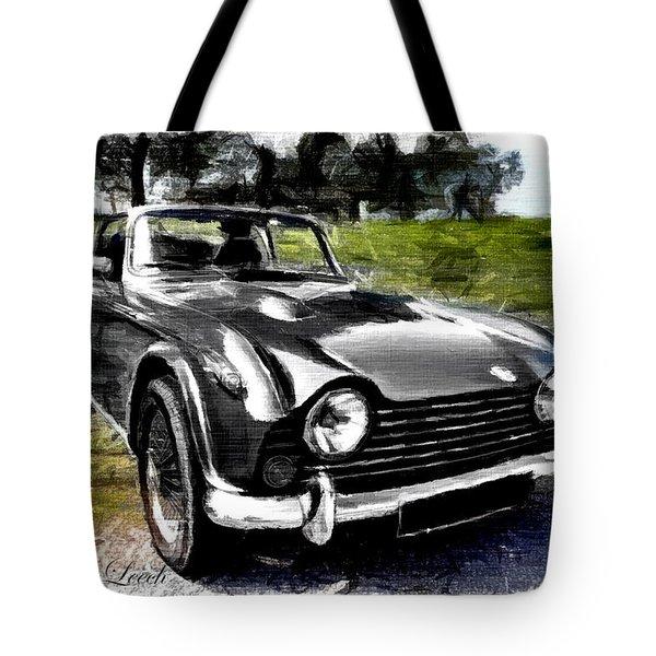 Triumph Tr5 Monochrome With Brushstrokes Tote Bag