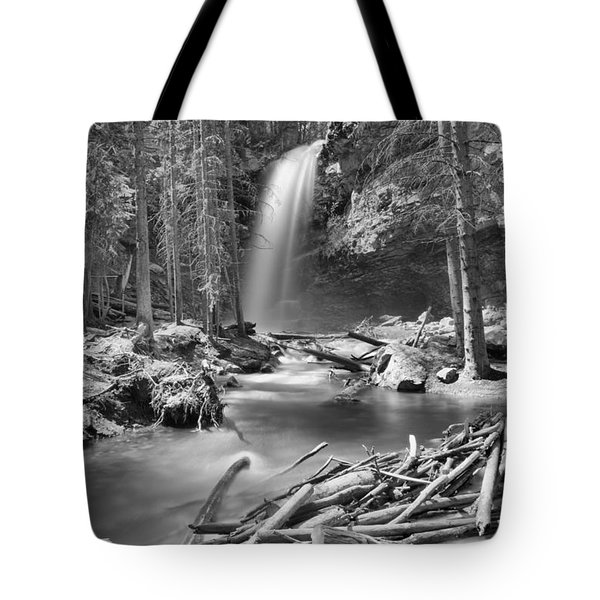 Troll Falls Canyon Black And White Tote Bag