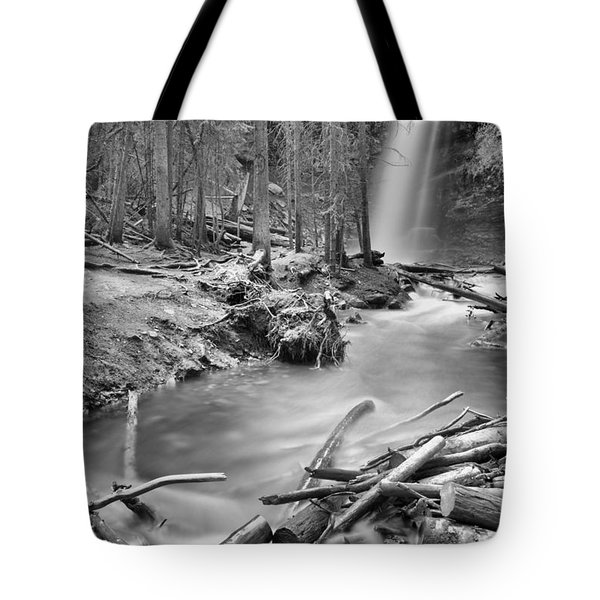 Troll Falls In The Forest Black And White Tote Bag