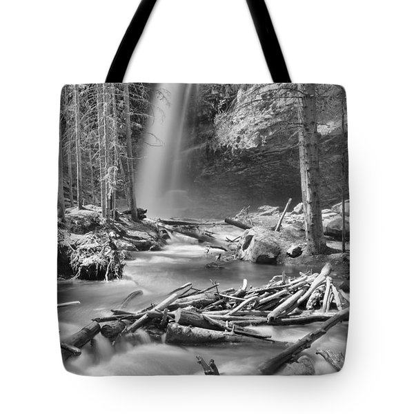 Troll Falls In The Woods Black And White Tote Bag