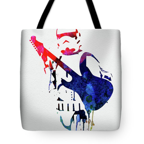 Trooper Playing Guitar Watercolor Tote Bag