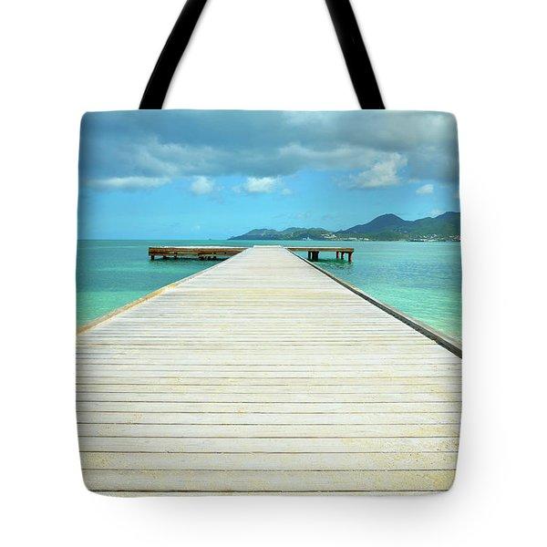 Tropical Caribbean Dock - St. Maarten Tote Bag