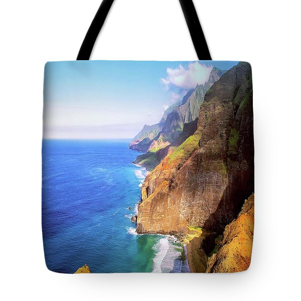 Tote Bag featuring the digital art Tropical Coastline Hawaii Aerial Photograph Of The Isolated Napali Coast by OLena Art Brand